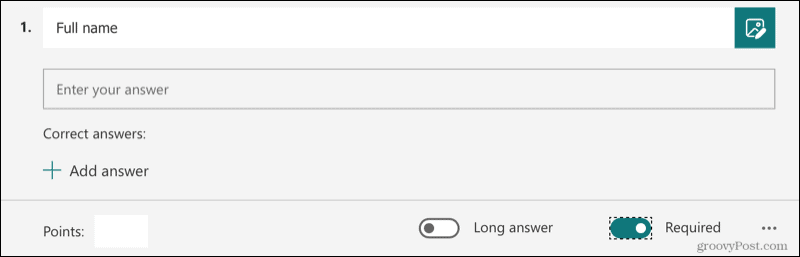 Text Question in Microsoft Forms