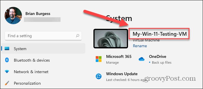 New Name of Windows 11 PC Displayed in About