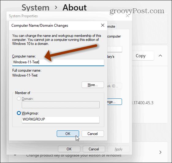 New computer name Windows 11