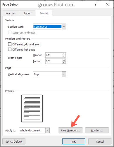 Click Line Numbers in Page Setup