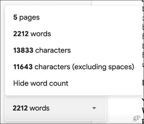 Page, word, and character counts