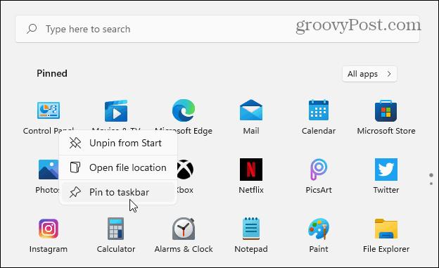 Pin CPL to Taskbar from Start Windows 11