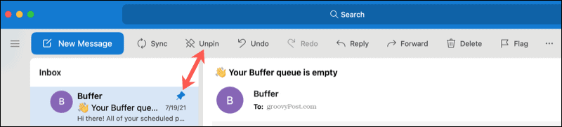 Pin and Unpin a message in Outlook on Mac