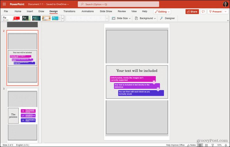 Portrait Slide Orientation in PowerPoint on the web