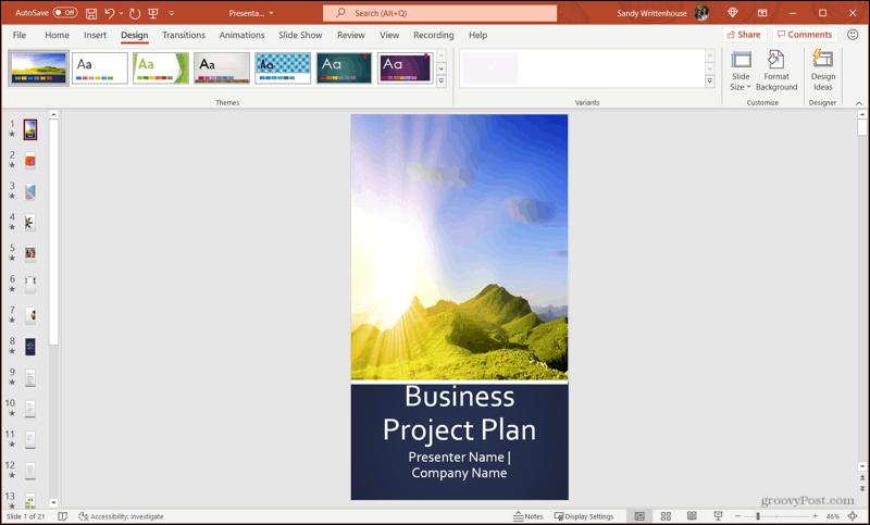 Portrait Slide Orientation in PowerPoint on Windows