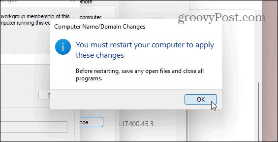 Restart Windows 11 PC to Change Name