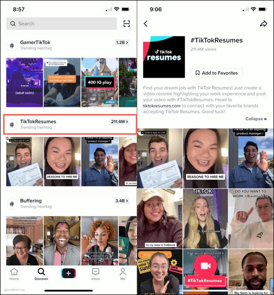 TikTok Resumes channel in the app