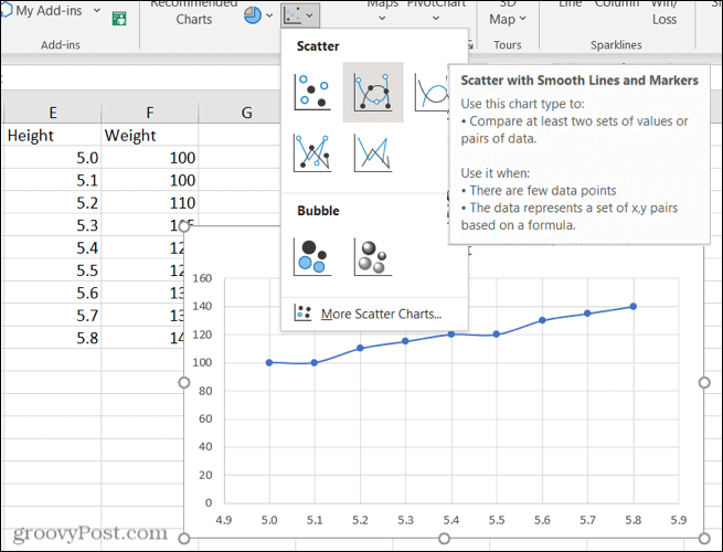 Scatter chart preview