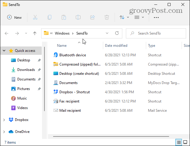 Send to Folder Windows 11