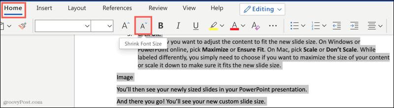 Shrink Font Size button