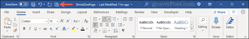 Shrink One Page in Quick Access Toolbar