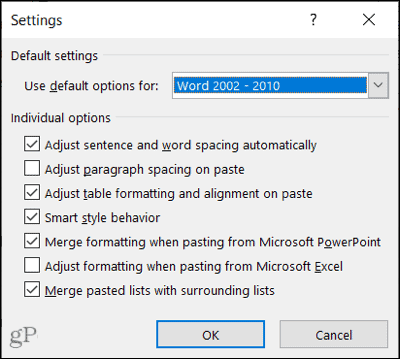 Smart Cut and Paste Options