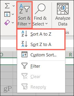 Sort and Filter, Sort