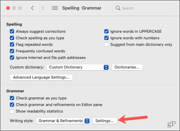Mac Word Options, Grammar Settings
