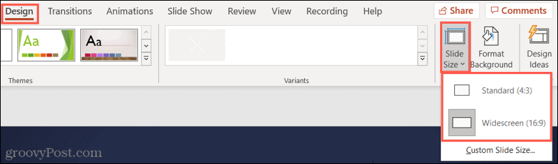 Click Standard or Widescreen for your PowerPoint Slide Size
