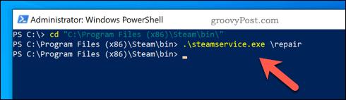 Repairing Steam on Windows using PowerShell.