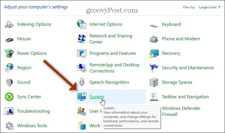 System Windows 11 Control Panel