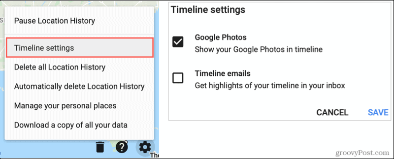 Google Maps Timeline Settings, Show Google Photos