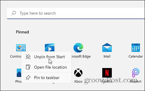 Unpin CPL from Start Taskmanager windows 11