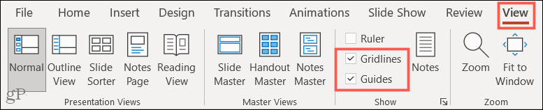 View tab, Gridlines and Guides in PowerPoint