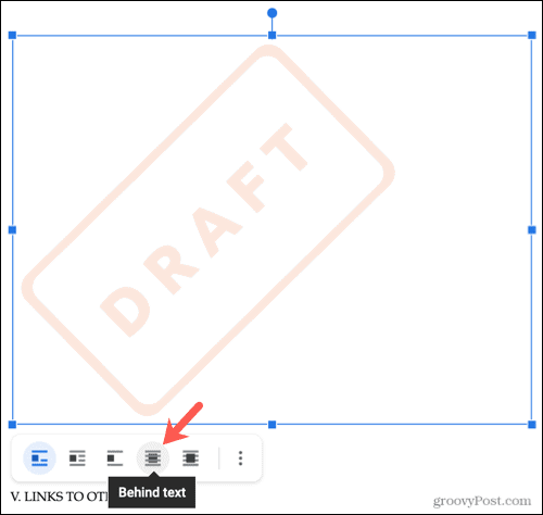Move the watermark Behind Text in Google Docs
