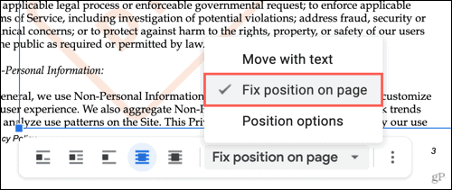 Click Fix Position on Page