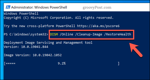 Running the DISM command on Windows.