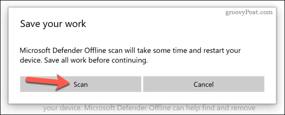 Confirm the start of the Microsoft Defender boot scan process.