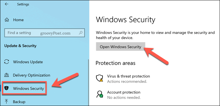 Opening the Security menu on Windows.