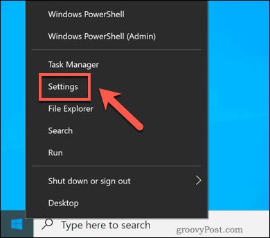 Opening the Windows Settings menu.