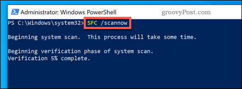 Running the SFC tool on Windows.