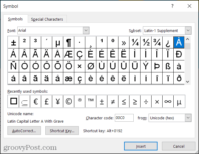 Symbols for accent marks in Word