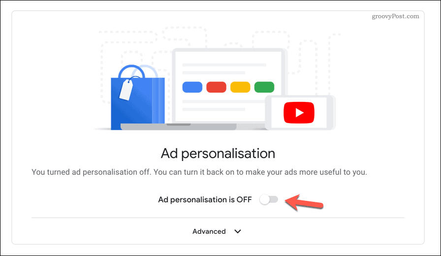 Disabling personalized ads on Youtube.