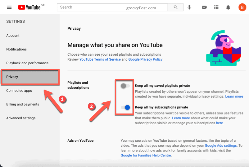 Enabling privacy settings on YouTube