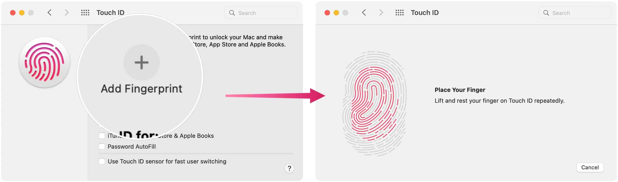 Touch ID issues: Add fingerprint