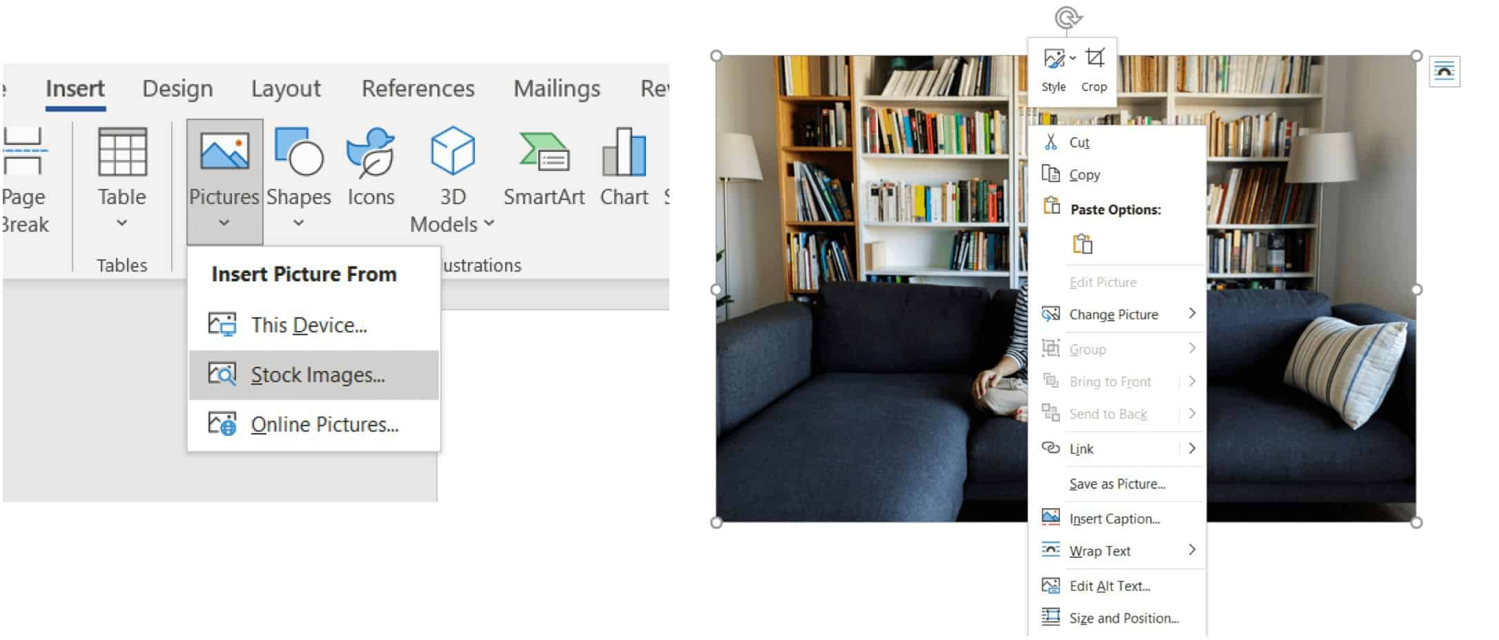 Move Photos Freely Image insert into Word