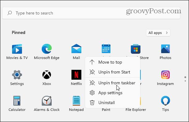 unpin app from taskbar windows 11