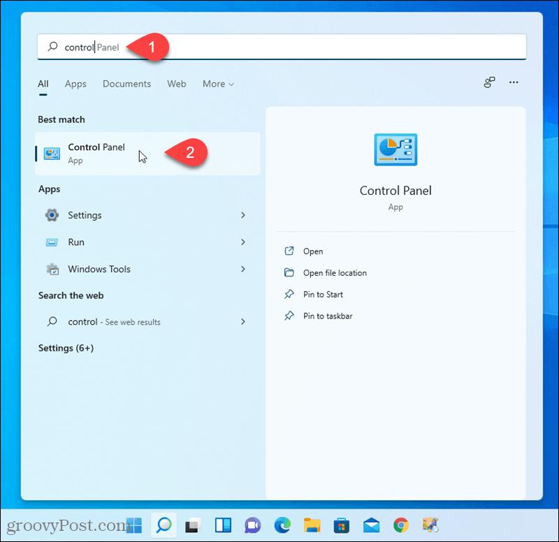 Open Control Panel in Windows 11
