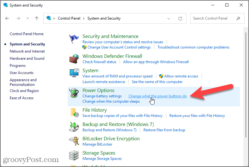Change what the power buttons do in Windows 11