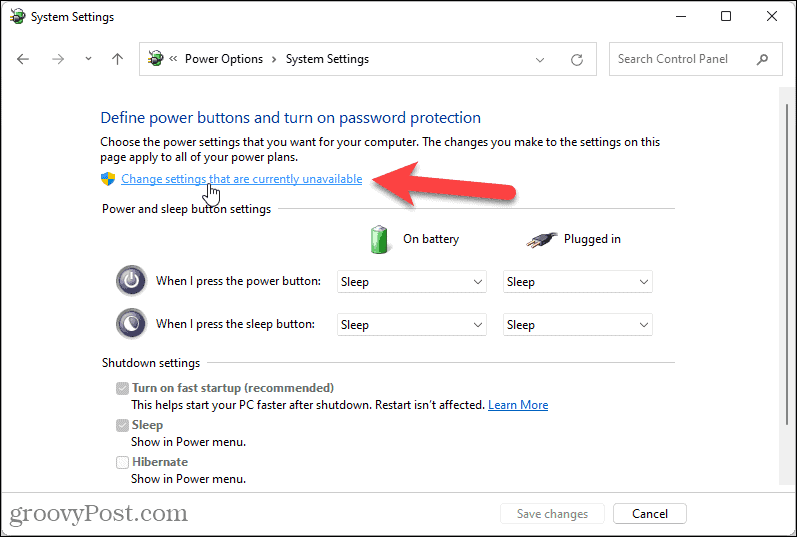 Change settings currently unavailable in Windows 11