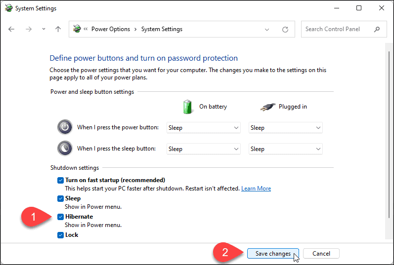 Enable hibernation in Windows 11