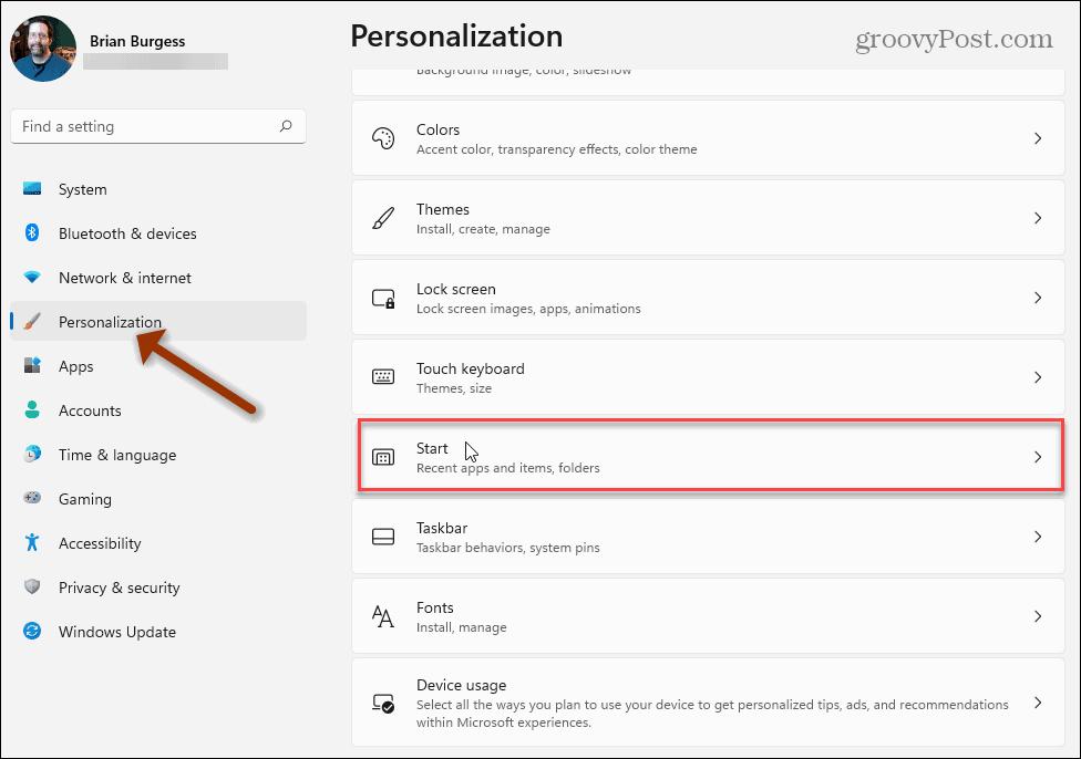 Personalization Start Windows 11 settings