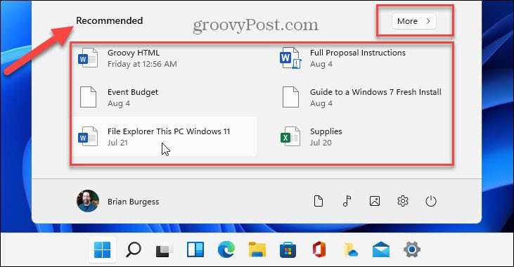 Show Recommended items Windows 11