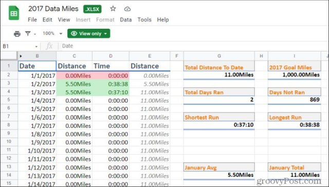 distance log