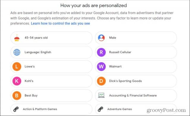 review ad personalization