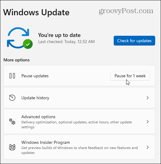 Pause Windows 11 Updates