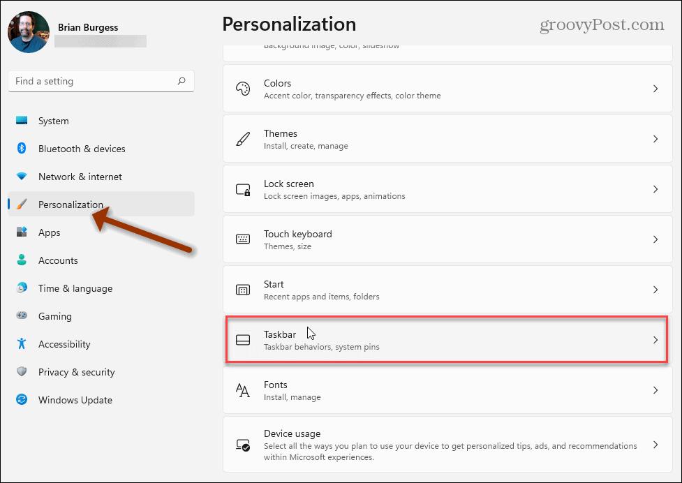 Personalization Taskbar Windows 11 Settings