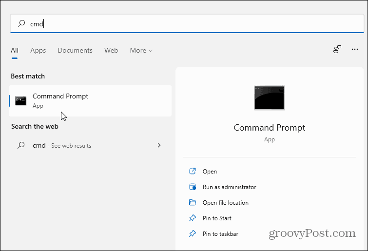 Search for CMD Windows 11