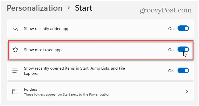 Show Most Used Apps Windows 11