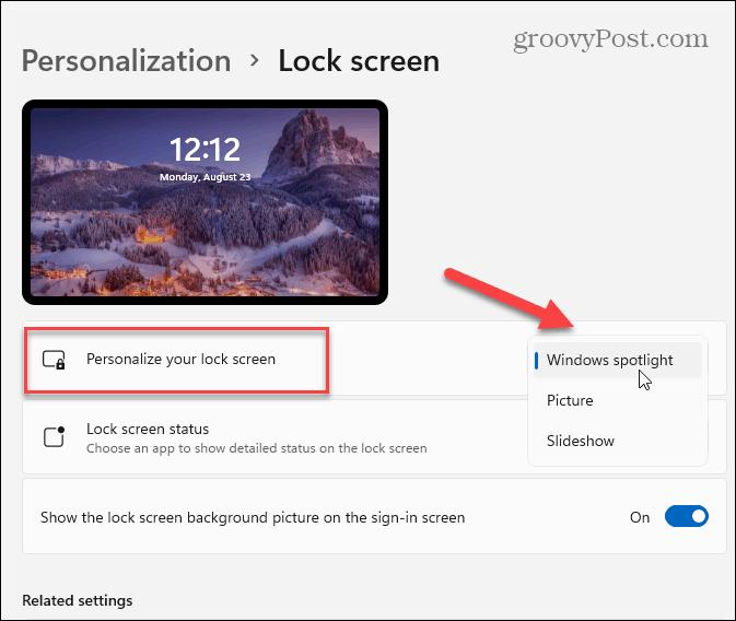 personalize lock screen Windows 11
